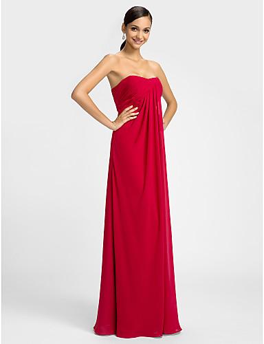 Sütun Kalp Yaka Yere Kadar Şifon Haç ile Elbise tarafından LAN TING BRIDE® / Açık Sırtlı