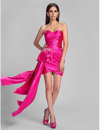 Eng anliegend Sweetheart Asymmetrisch Stretch - Satin Cocktailparty / Festtage Kleid mit Perlenstickerei Quaste Überkreuzte Rüschen durch