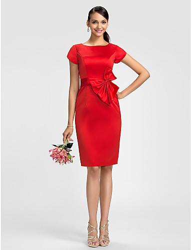 Eng anliegend Schmuck Knie-Länge Satin Brautjungfernkleid mit Schleife(n) / Schärpe / Band durch LAN TING BRIDE® / Ein Blütenblatt