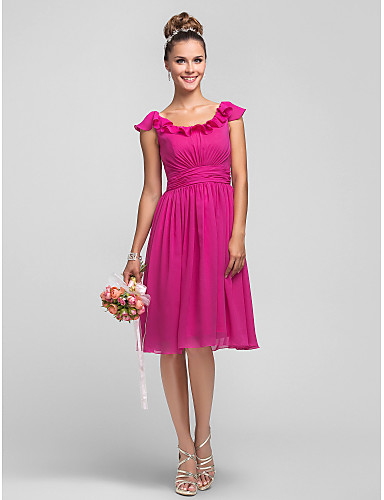 A-Linie / Princess Scoop Neck Ke kolenům Šifón Šaty pro družičky s Boční řasení / Volány / Sklady podle LAN TING BRIDE®