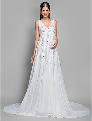 95471bffb6b6 A-Line V Neck Court Train Chiffon / Lace Made-To-Measure Wedding Dresses  with Sequin / Appliques by LAN TING BRIDE® 252274 2019 – $199.99