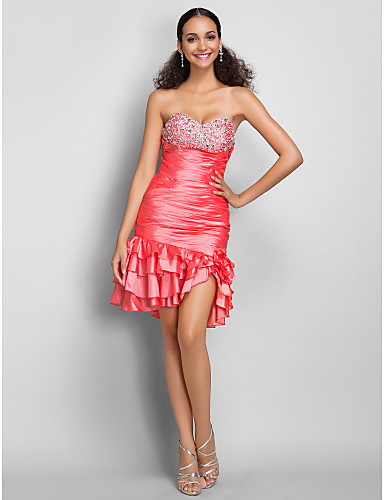Sheath / Column Sweetheart Short / Mini Taffeta Cocktail Party Dress with Crystal Detailing Ruffles Ruching by TS Couture®