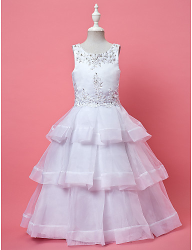 A-Line Ball Gown Ankle Length Flower Girl Dress - Organza Sleeveless Jewel Neck with Beading Appliques by LAN TING BRIDE®