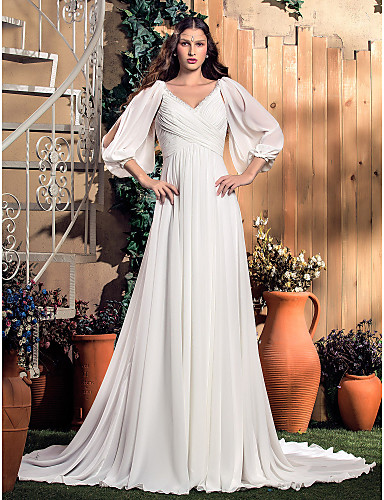 abordables Automne 2014-Trapèze Col en V Traîne Tribunal Mousseline de soie Robes de mariée sur mesure avec par LAN TING BRIDE®