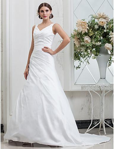 abordables Robes de Réception de Mariage-Trapèze Col en V Traîne Chapelle Taffetas Robes de mariée sur mesure avec Drapée sur le côté par LAN TING BRIDE®