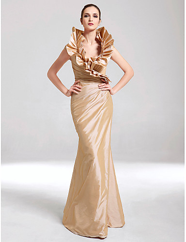 Mermaid / Trumpet V Neck Floor Length Taffeta Formal Evening / Black Tie Gala Dress with Side Draping / Ruffles by TS Couture®