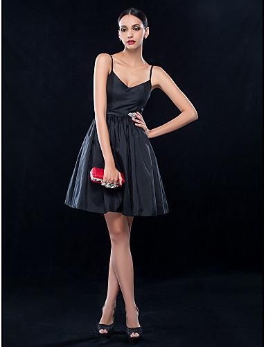 A-Linie Spaghetti-Träger Kurz / Mini Taft Kleines Schwarzes Kleid Cocktailparty Kleid mit Kristall Verzierung / Schärpe / Band durch TS Couture®