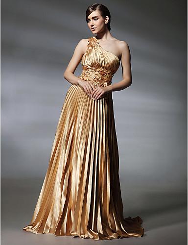 Linia -A Pe Umăr Mătura / Trenă Satin Stretch Spate FRumos Seară Formală Rochie cu Aplică / Pliuri de TS Couture®