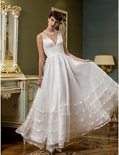 A line plunging neckline ankle length organza tulle for Simple ankle length wedding dresses