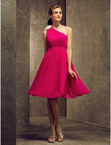A-Line One Shoulder Knee Length Chiffon Bridesmaid Dress with Flower by LAN TING BRIDE®