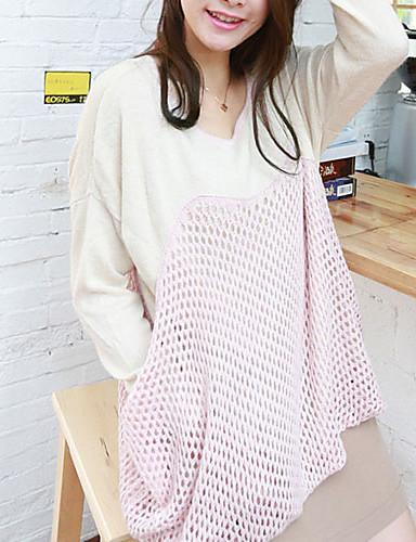 Folli koreansk Loose rund krave langærmet Splejsning Mesh Knit Shirt