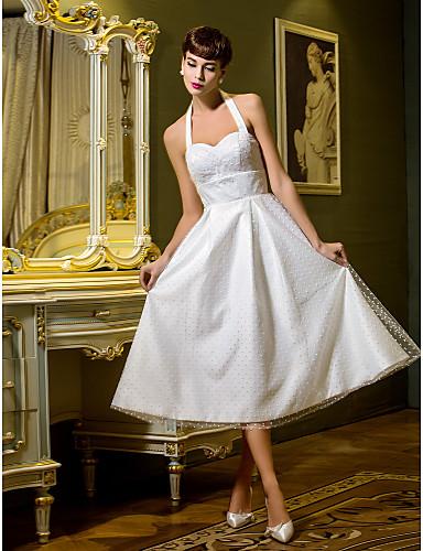A-Linie / Prinzessin Halter Tee-Länge Tüll Maßgeschneiderte Brautkleider mit Drapiert durch LAN TING BRIDE® / Schlichte Brautkleider