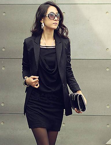 abordables Robes Femme-Femme Mini Au dessus du genou Gaine Robe - Ruché, Couleur Pleine Eté Blanc Noir Gris Taille unique Manches Longues / Mince