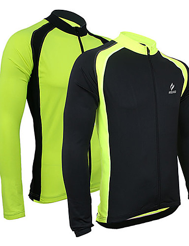 cheap Cycling Clothing-Arsuxeo Men's Cycling Jersey Bike Jacket Jersey Top Thermal / Warm Breathable Quick Dry Sports Polyester Spandex Lycra Black / Green Mountain Bike MTB Road Bike Cycling Clothing Apparel Relaxed Fit
