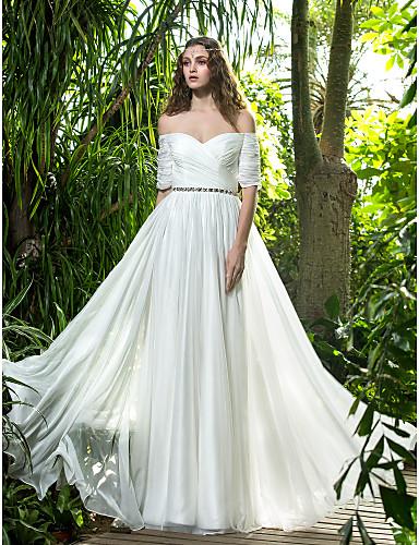A-kroj Do poda Šifon Vjenčanica s Kristal Ukriženo Nabrano po LAN TING BRIDE®