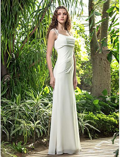 A-Linie Hranatý Na zem Žoržet Svatební šaty s Krajka Nabírané po stranách podle LAN TING BRIDE®