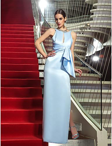 Sütun Taşlı Yaka Yere Kadar Saten Yan Drape ile Resmi Akşam / Askeri Balo Elbise tarafından TS Couture® / Açık Sırtlı / Ünlü Stili / anahtar deliği