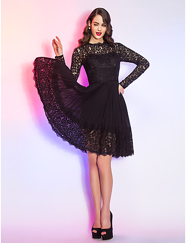3a8760488f26d play video. cheap Cocktail Dresses-A-Line Illusion Neck Knee Length Chiffon  / Sheer Lace Little