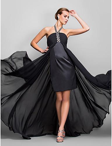 A-linje Grime Assymetrisk Silkegeorgette Formel aften / Militærbal Kjole med Krystaldetaljering Krøllede Folder ved TS Couture®