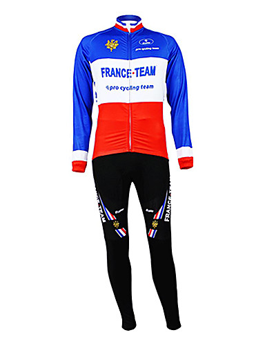 cheap Cycling Clothing-Malciklo Men's Long Sleeve Cycling Jersey with Tights - Blue+Red France Champion National Flag Bike Clothing Suit Thermal / Warm Fleece Lining Breathable Sports Winter Polyester Fleece Mountain Bike