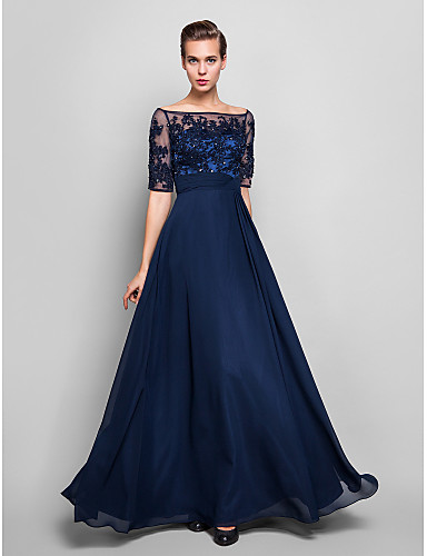 cheap Evening Dresses-Sheath / Column Illusion Neck Floor Length Chiffon / Lace Over Tulle Vintage Inspired Formal Evening Dress with Beading / Appliques by TS Couture® / Illusion Sleeve