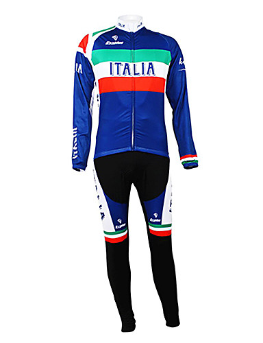 cheap Cycling Clothing-Malciklo Men's Long Sleeve Cycling Jersey with Tights Italy Champion National Flag Bike Clothing Suit Thermal / Warm Fleece Lining Breathable Winter Sports Polyester Fleece Italy Mountain Bike MTB