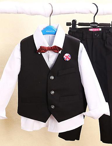 Amestec poliester/bumbac Costum Cavaler Inele - 4 Bucăți Include Pantaloni Vestă Cămașă Papion