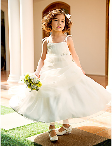 A-Line / Princess Knee Length Flower Girl Dress - Organza Sleeveless Spaghetti Strap with Beading / Appliques / Draping by LAN TING BRIDE®