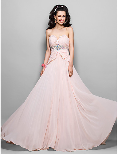 Sheath / Column Strapless Sweep / Brush Train Chiffon Prom Formal Evening Military Ball Dress with Beading Crystal Detailing Pleats Side