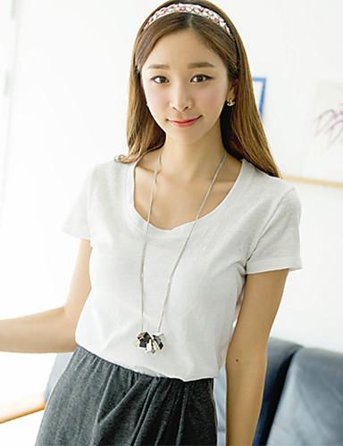 [Pashong] Women's Round Collar Basic Soft T Shirt