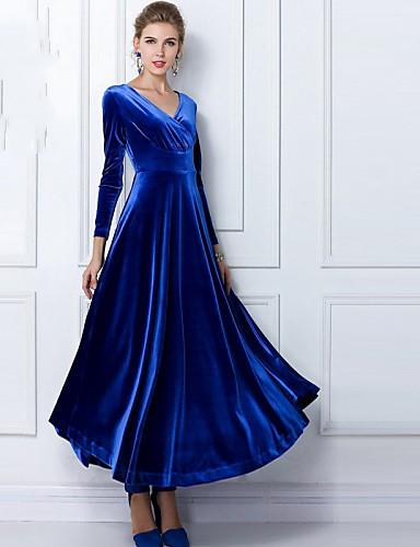 voordelige Maxi-jurken-Wijd uitlopend Jurk - Effen, Geplooid V-hals Maxi