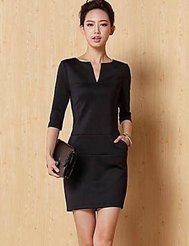 01b908c96028 Kvinnors Korean Style High-End Custom Knit Simple V-Neck långärmad klänning