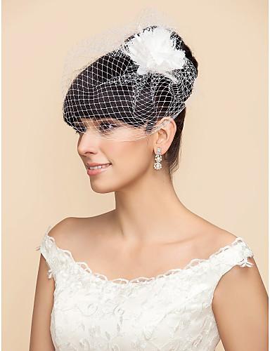 Un nivel Voal de Nuntă Voaluri de Obraz Birdcage Veils Cu Pene Flori din Satin Tulle A-line, Rochie de Bal, Prințesă, Foaie/ Coloană,