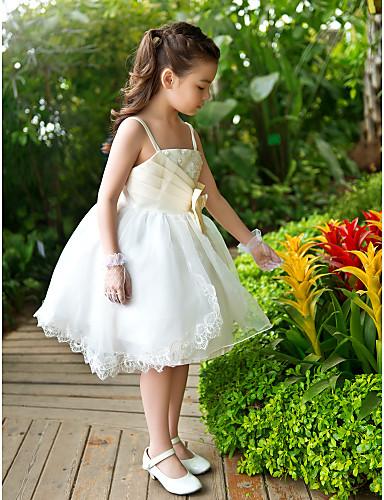 A-line kotník délka kotníku květina dívka šaty - šifón tyle bez rukávů s flitry