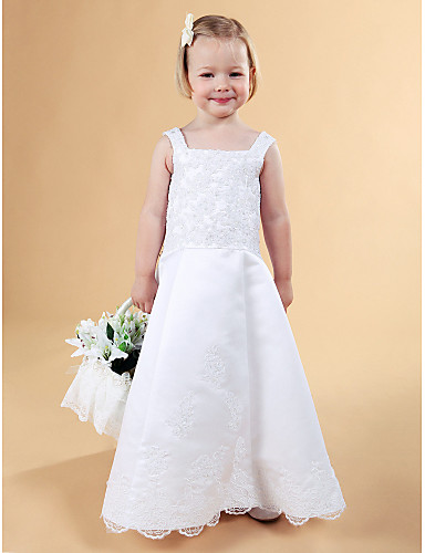 A-Line Princess Floor Length Flower Girl Dress - Lace Satin Sleeveless Straps with Beading Appliques Buttons Lace by LAN TING BRIDE®
