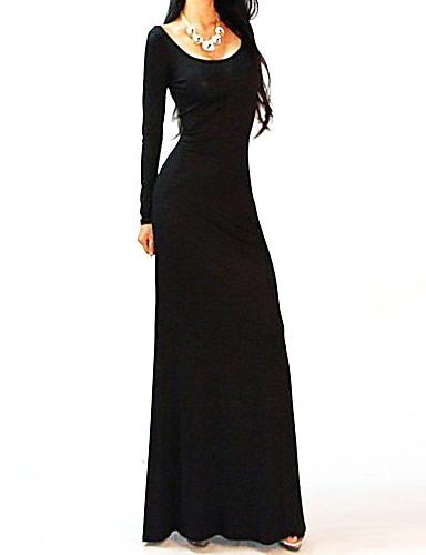 DEFANIA femei sexy fara spate Split, lung Dress (Negru)