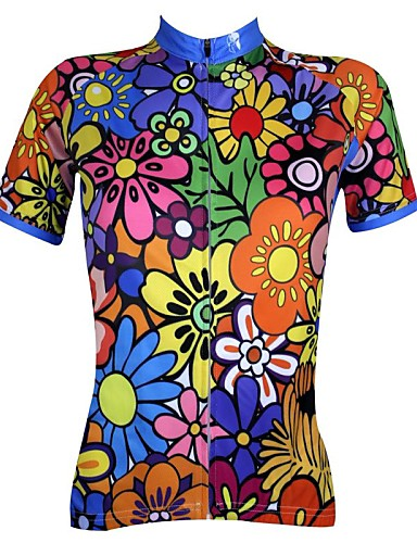 cheap Cycling Jerseys-ILPALADINO Women's Short Sleeve Cycling Jersey - Rainbow Floral / Botanical Plus Size Bike Jersey Top Breathable Quick Dry Ultraviolet Resistant Sports 100% Polyester Mountain Bike MTB Road Bike