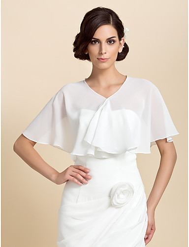 076bafc12c7 Short Sleeve Chiffon Party Evening Wedding Wraps With Capelets