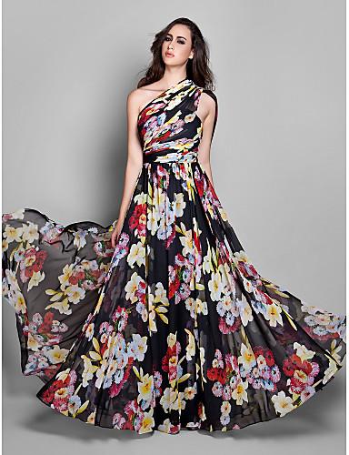 Sütun Tek Omuz Yere Kadar Şifon Kırma Dantel Yan Drape ile Resmi Akşam Elbise tarafından TS Couture®