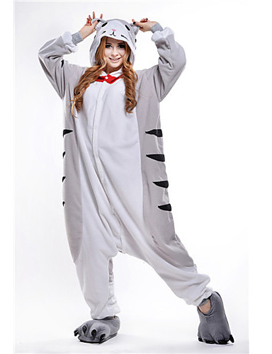 Adults  Kigurumi Pajamas Cat Chi s Sweet Home   Cheese Cat Animal Onesie  Pajamas Polar Fleece Gray Cosplay For Men and Women Animal Sleepwear  Cartoon ... c73cf1066