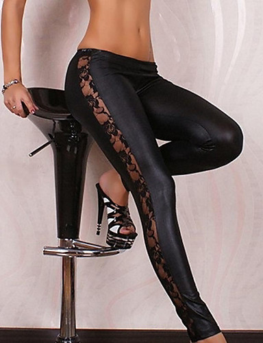povoljno Ženske hlače i suknje-Žene Dnevno Sexy Osnovni Legging - Kolaž Medium Waist / Čipka / Uske