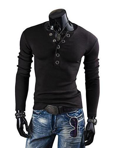 zian® pánská móda v krku tenký kolík spona dekorace casual kartáčovaný dlouhý rukáv plést svetr o