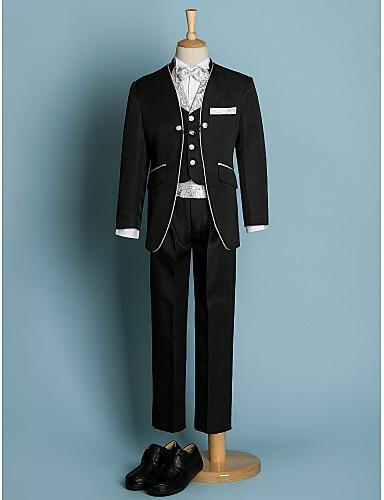 Slonová kost Černá Polyester Oblek pro mládence - 6 Obsahuje Sako pas Vesta Tričko Kalhoty Motýlek
