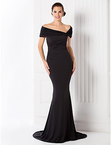 Havfrue Skulderfri Børsteslæb Jerseystof Formel aften / Galla i kjole og hvidt Kjole med Plissé ved TS Couture®
