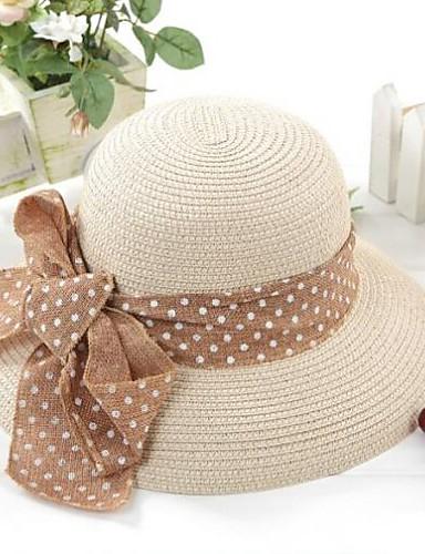 Для женщин Очаровательный На каждый день Шляпа от солнца,Лето Солома Однотонный