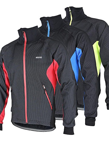 cheap Cycling Clothing-Arsuxeo Men's Cycling Jacket Bike Jacket Winter Fleece Jacket Top Thermal / Warm Windproof Fleece Lining Sports Polyester Spandex Fleece Winter Red / Blue / Light Green Mountain Bike MTB Road Bike