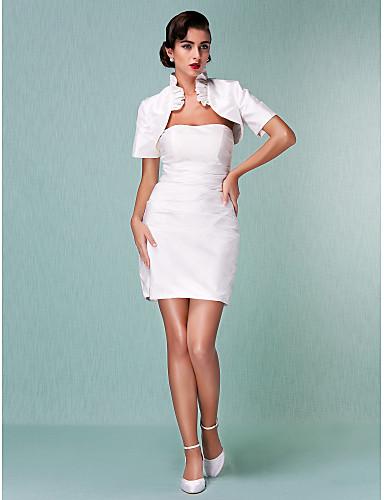 Sheath / Column Strapless Short / Mini Taffeta Custom Wedding Dresses with Ruffle Ruched by LAN TING BRIDE®