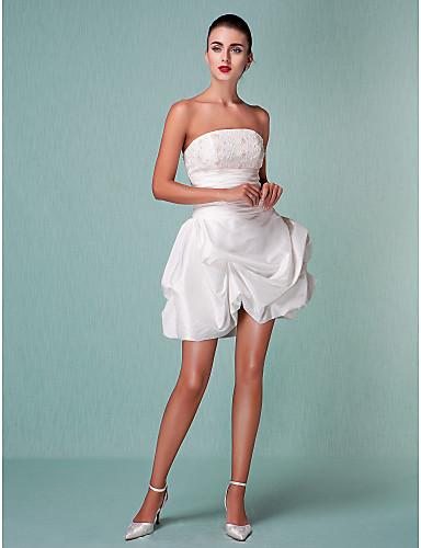 Salón Sin Tirantes Corta / Mini Tafetán Vestidos de novia personalizados con Cuentas Apliques Falda Plegada Fruncido por LAN TING BRIDE®
