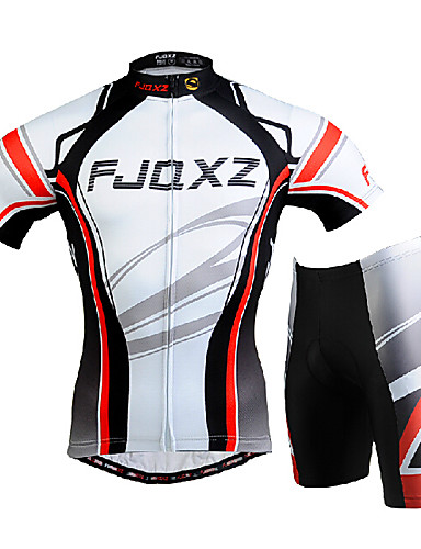 cheap Cycling Clothing-FJQXZ Men's Short Sleeve Cycling Jersey with Shorts - White Bike Clothing Suit Windproof Breathable 3D Pad Quick Dry Ultraviolet Resistant Sports Mesh Curve Mountain Bike MTB Road Bike Cycling