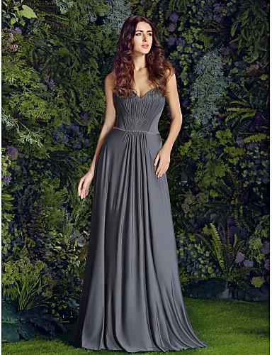 Lanting Bride® Floor-length Jersey Bridesmaid Dress - Sheath / Column Sweetheart Plus Size / Petite with Beading / Draping / Side Draping